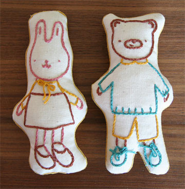 bear and bunny embroidered toys