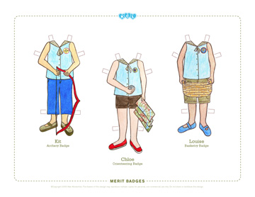 KCL Paper Dolls Camp Outfits