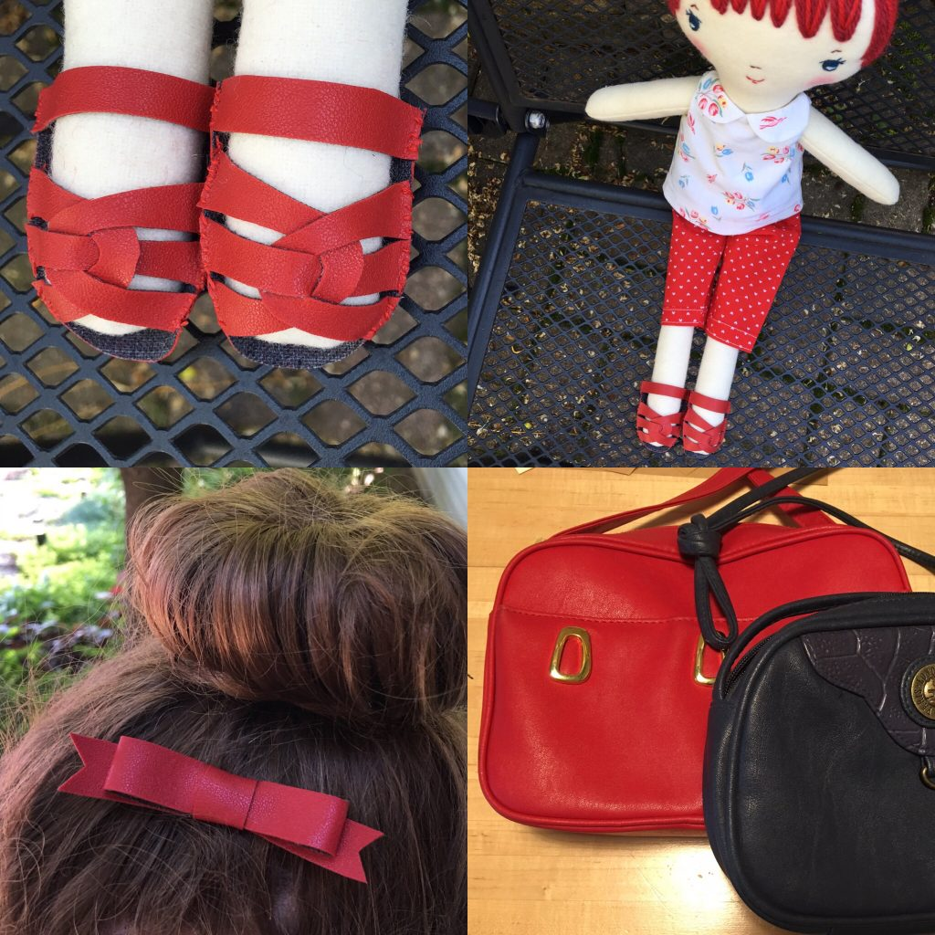 making doll shoes from thrifted handbag