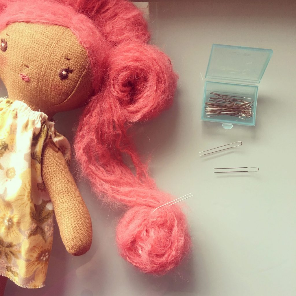 handmade doll with yarn hair