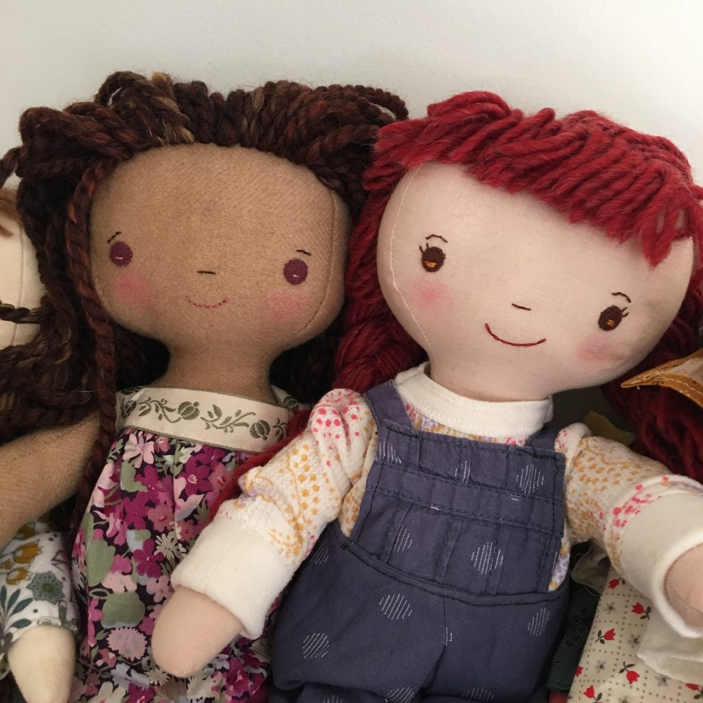 doll sewing patterns for handmade dolls, Kit Chloe and Louise pattern at Wee Wonderfuls
