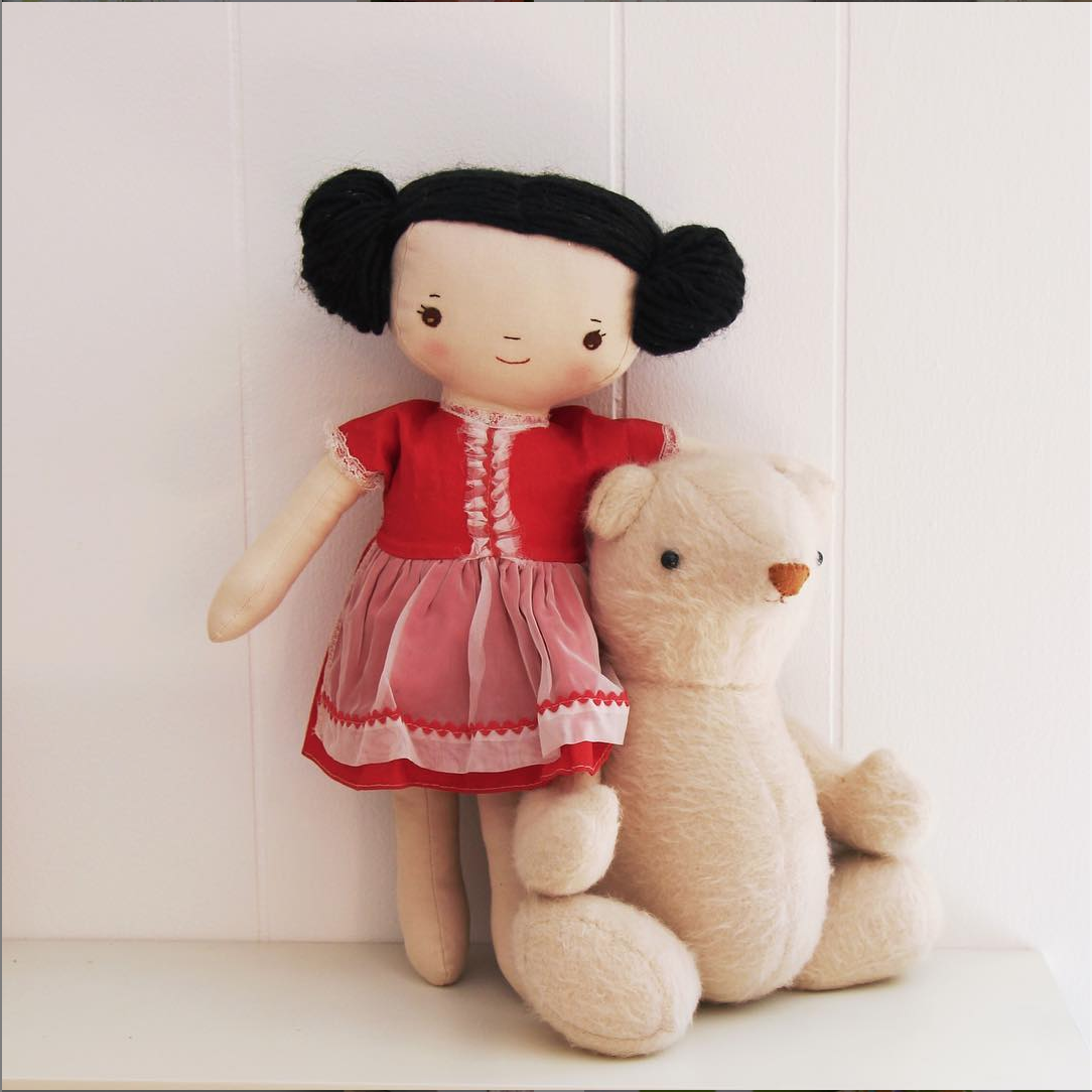 "Kit from ""Kit, Chloe & Louise"" pattern and Bjorn bear from my book"