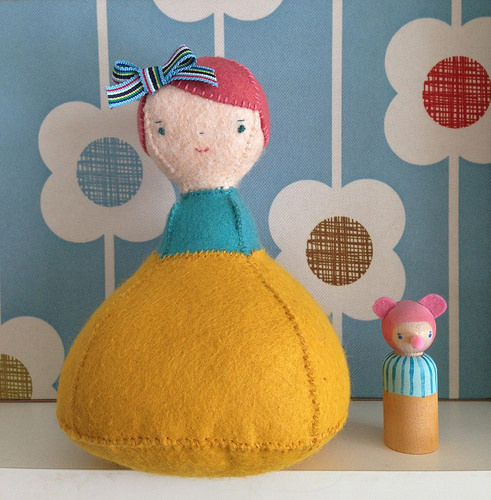 doll pincushion with her peg doll buddy
