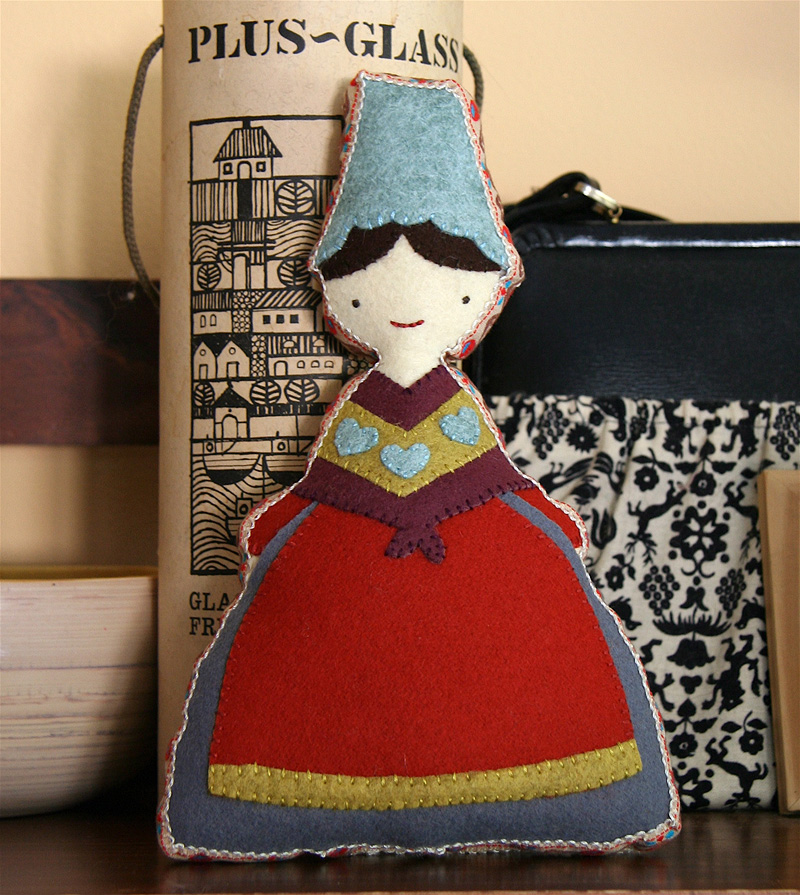 folky wool felt doll