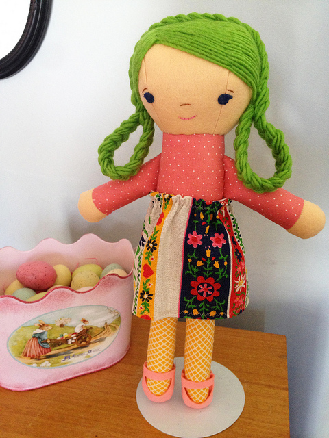 green haired spring doll