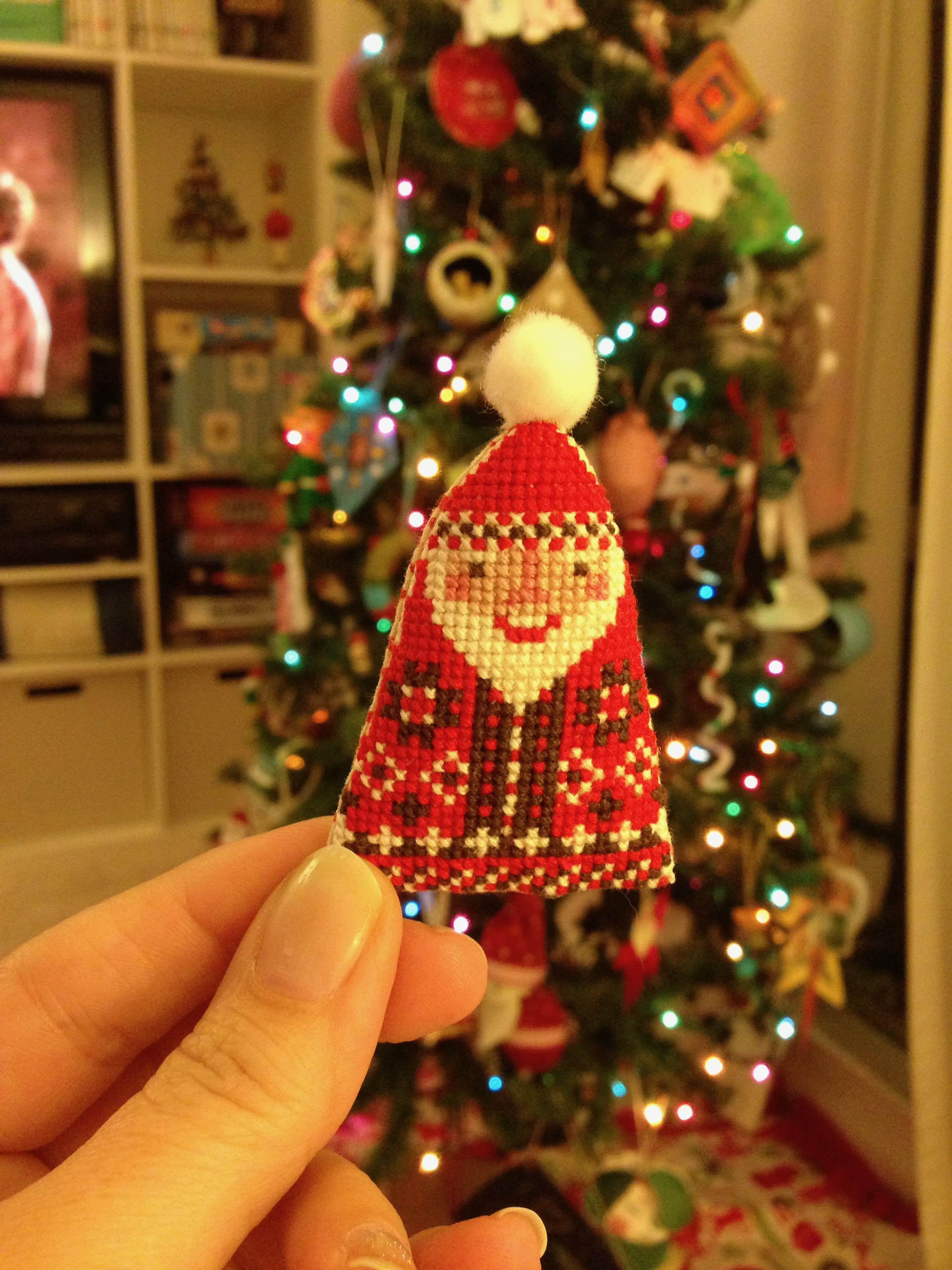 santa cross stitch ornament