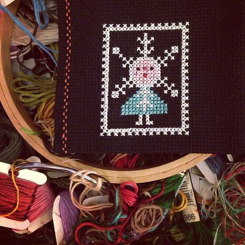 snowflake angel cross stitch