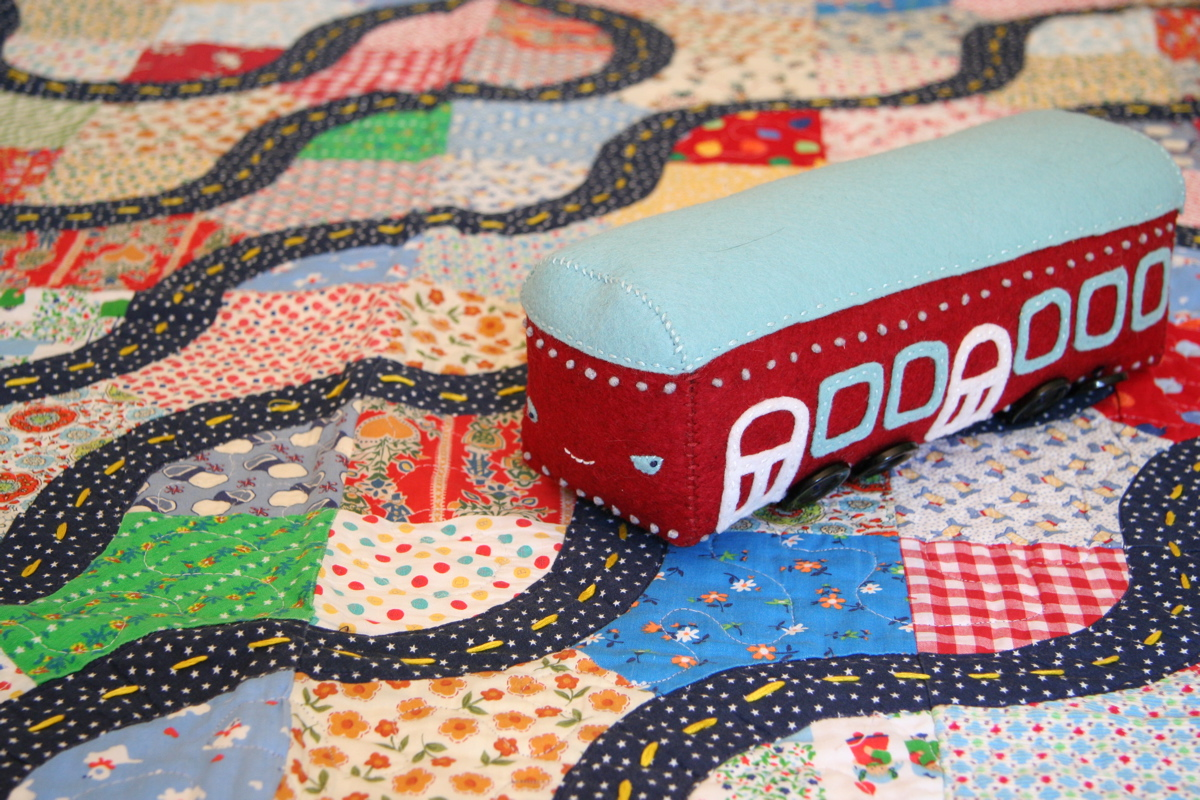trolly, pattern in the book driving on a roadway quilt I made for my son
