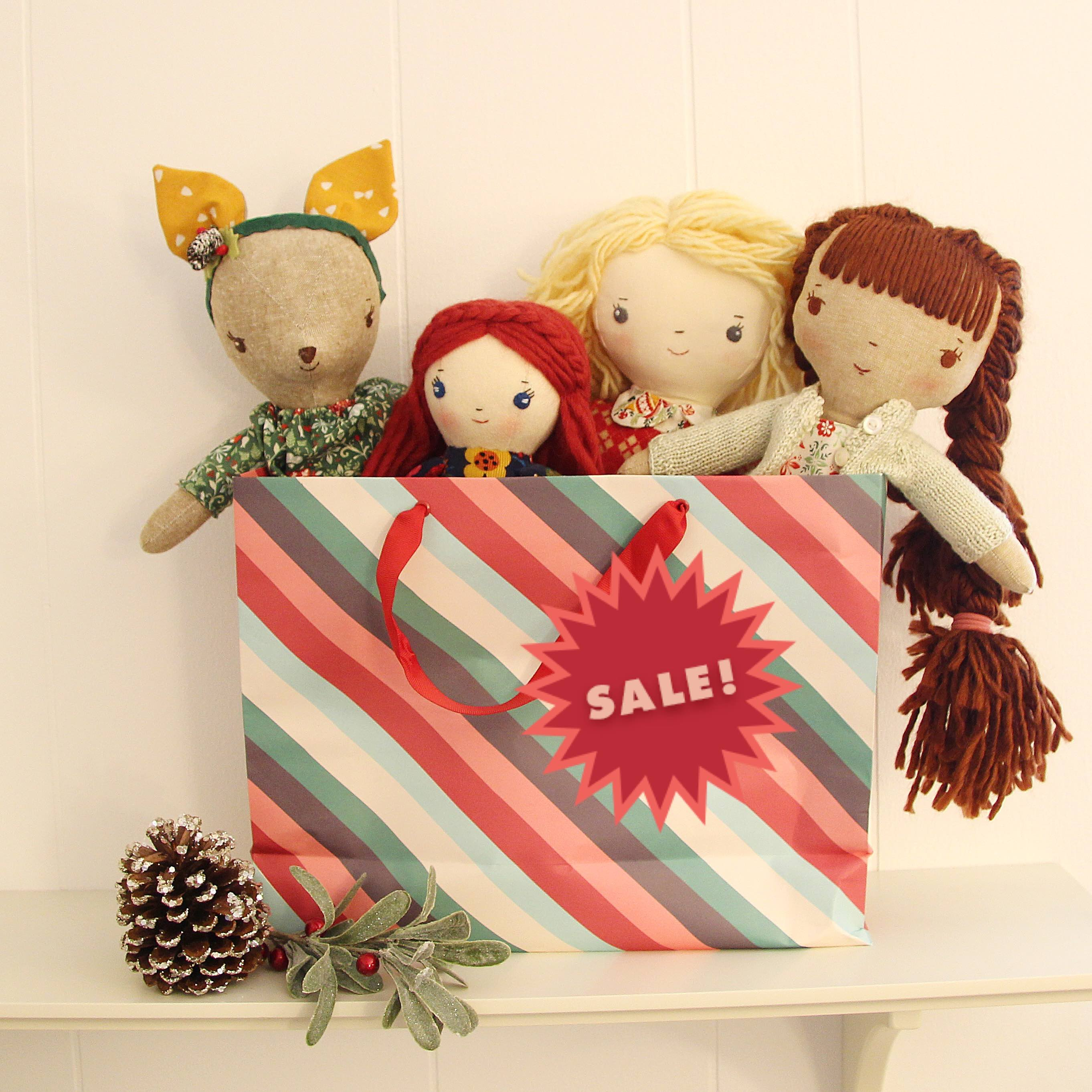 Wee Wonderfuls doll sewing patterns holiday sale